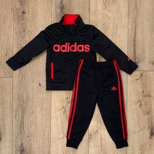 Adidas Boys 3T Red Black Track Suit Pant Jacket